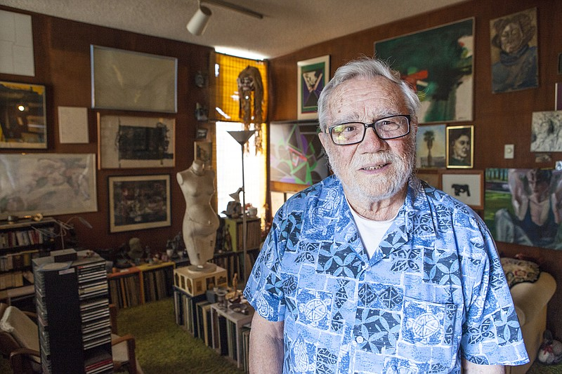 A portrait of San Diego collector Walter Pomeroy in his home with a slice of ...