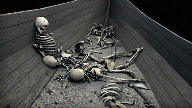 CGI 1 reconstruction graphics depicting skeletons of dead Vikings in a longship.