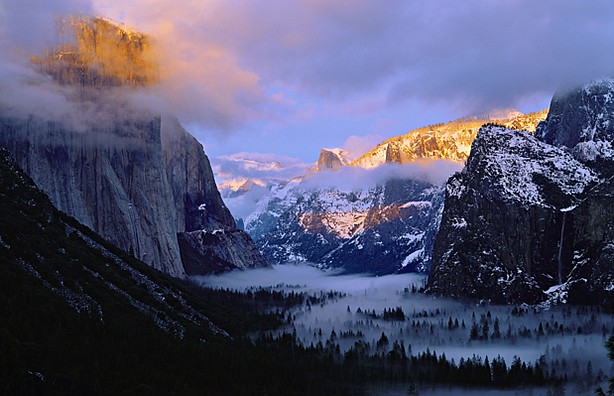 Yosemite Valley in winter, Yosemite National Park, Calif.