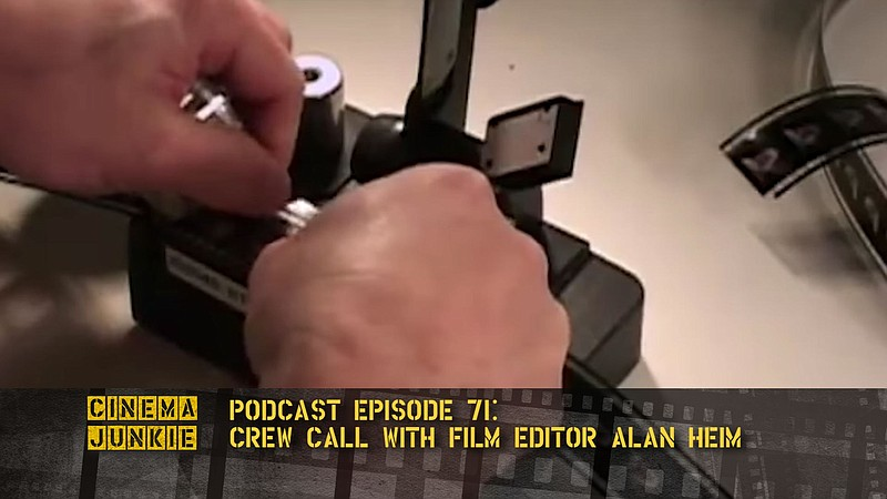 The hands of an editor splicing a piece of film (from the documentary