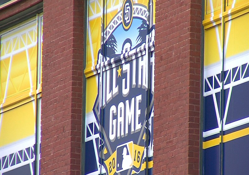 All-Star game logo hangs in the window of the Western Metal Supply Co. buildi...