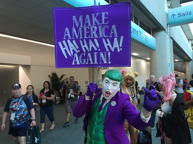 A cosplayer mashes up Donald Trump and the Joker, July 23. 2016.
