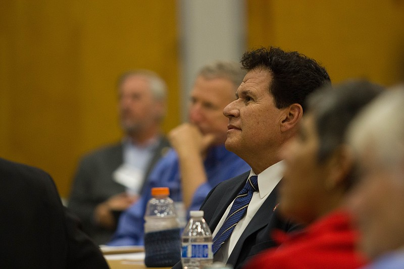 State Sen. Marty Block listens at a meeting of the La Mesa-Foothills Democrat...