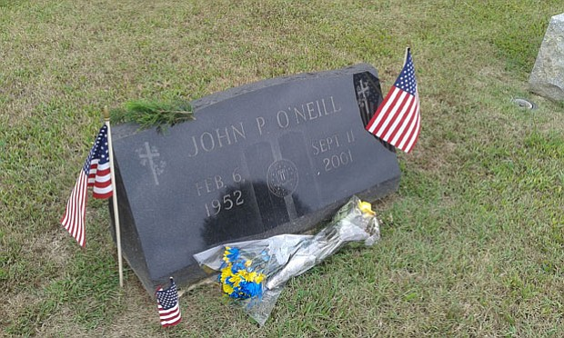 Grave stone of John P. O'Neill at Holy Cross Cemetery, Mays Landing, N.J. (ta...