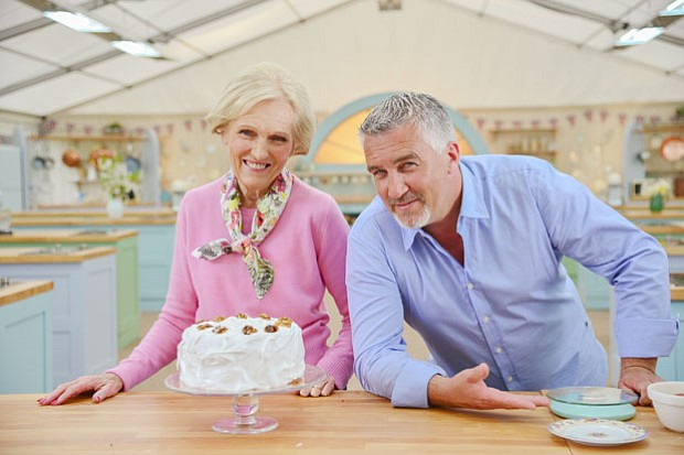 Judges Mary Berry and Paul Hollywood with frosted walnut cake. Watch as they ...