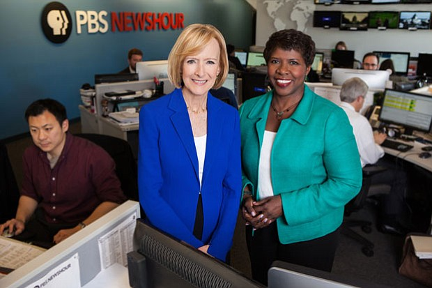 PBS NEWSHOUR co-anchors and managing editors Judy Woodruff and Gwen Ifill.