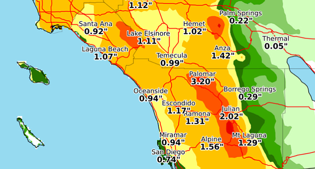 This map of San Diego County show projected rainfall totals from strong Pacif...