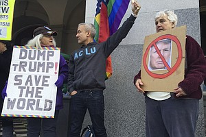 Hundreds Protest At California Electoral College Meeting