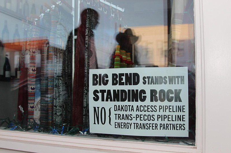 This sign in Marfa, Texas is one of many seen in west Texas protesting the Tr...