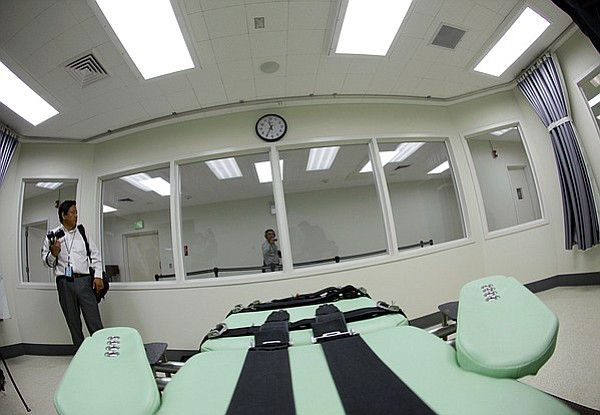 The view a condemned inmate would have from a table inside the death chamber ...