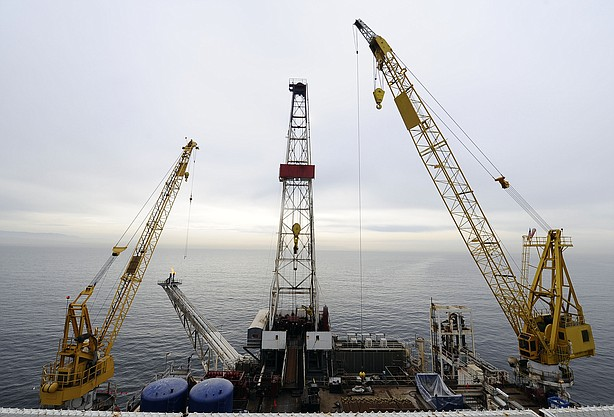"""Offshore oil drilling platform """"Gail"""" operated by Venoco, Inc., is shown off ..."""