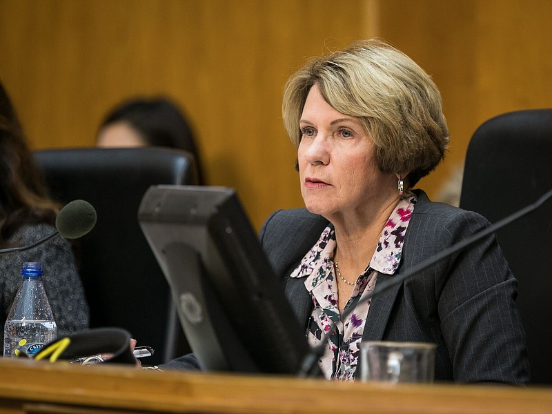 San Diego Independent Budget Analyst Andrea Tevlin sits at the dais, Dec. 12,...