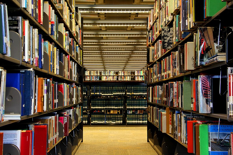 Shelves of books are seen at the San Diego Central Library, Oct. 28, 2013.