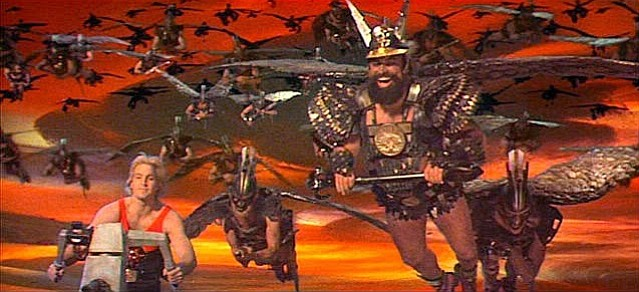 Sam J. Jones stars as Flash Gordon and Brian Blessed is Prince Vultan in the ...