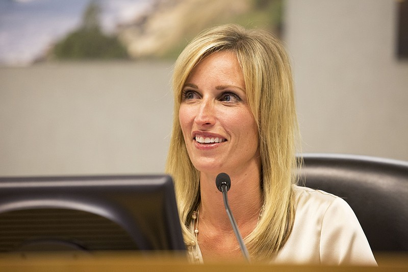 Encinitas Mayor Kristin Gaspar attends a council meeting, May 27, 2015.