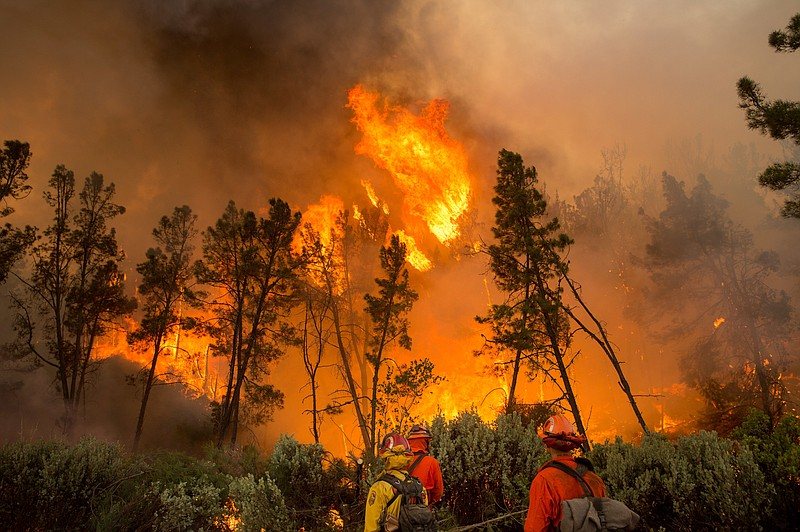 Firefighters ignite a backfire to stop the Loma fire from spreading near Morg...