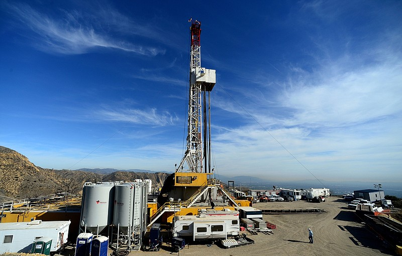 crews work on stopping a gas leak at a relief well at the Aliso Canyon facili...