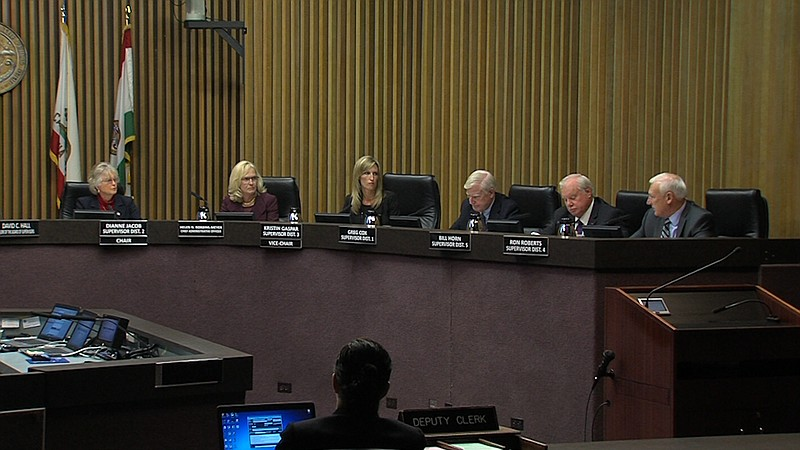 The San Diego County Board of Supervisors is shown in this photo, Jan. 10, 20...