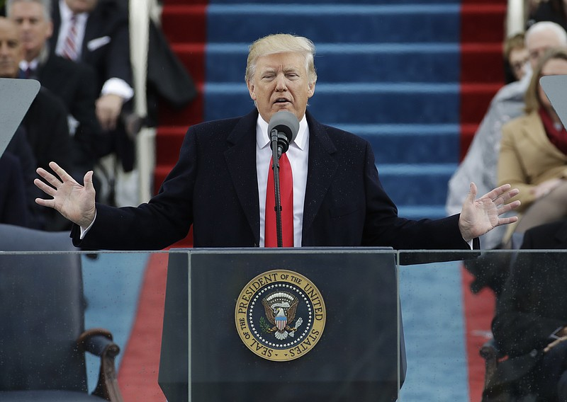 President Donald Trump delivers his inaugural address after being sworn in as...