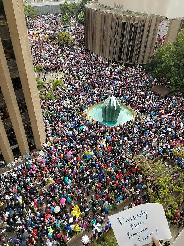 Women's March demonstrators gather in at the Civic Center Plaza in downtown S...