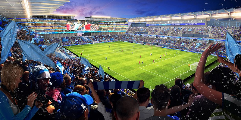 The investor group released artwork of the proposed MLS, football facility th...