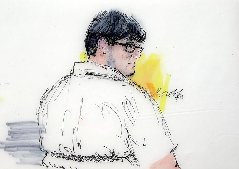 In this courtroom file sketch, Enrique Marquez Jr. appears in federal court i...