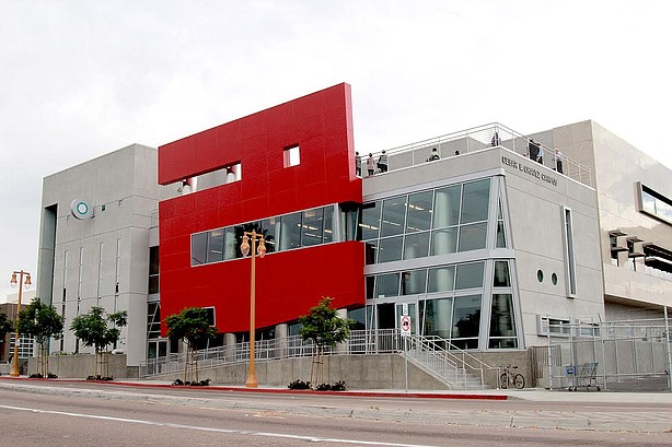 The San Diego Community College District's Cesar Chavez Campus building stand...