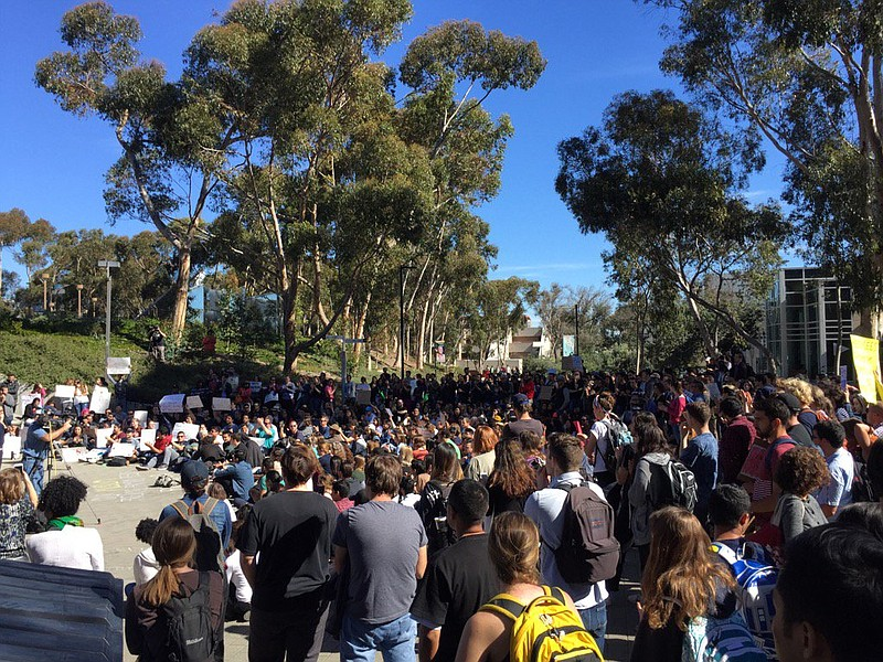 UCSD students protesting President Trump's immigration ban gathered for a mar...