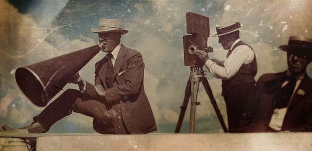 D.W. Griffith alongside his long-time cinematographer, Billy Bitzer.