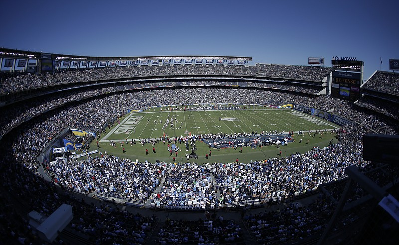 Qualcomm Stadium during a game that pitted the San Diego Chargers against the...