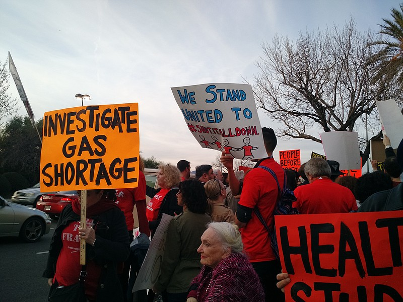 A crowd of San Fernando Valley residents protest the reopening of Aliso Canyo...