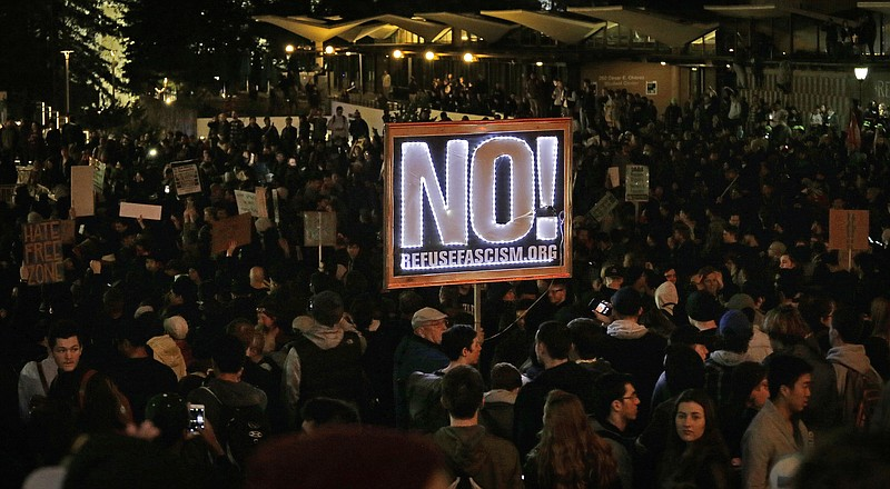 Protestors against a scheduled speaking appearance by polarizing Breitbart Ne...