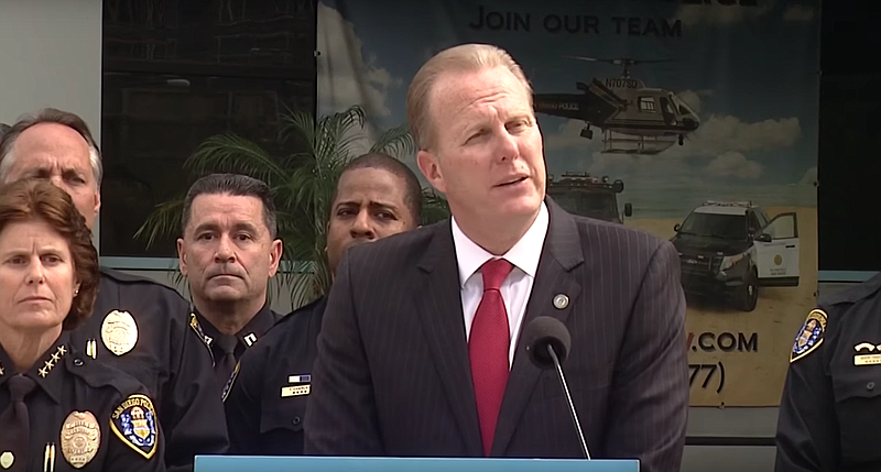 Mayor Kevin Faulconer speaks at a press conference on crime statistics, Feb. ...