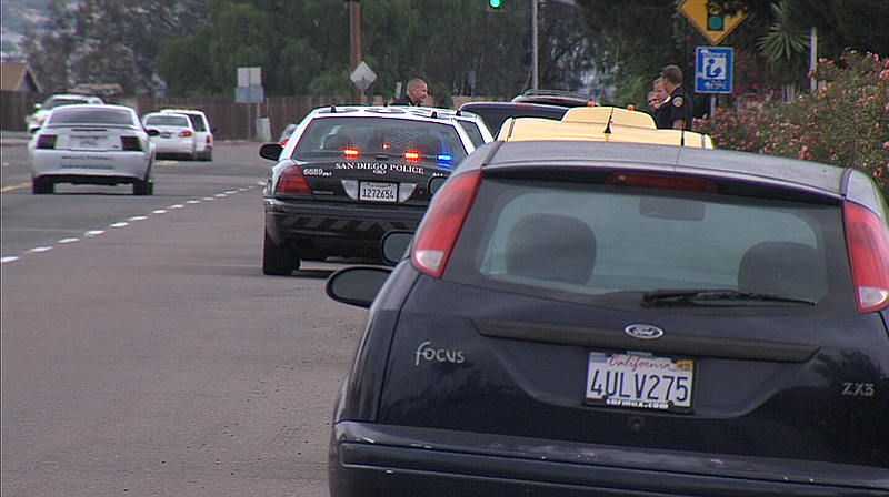 San Diego police officers pull over drivers in the Skyline neighborhood of Sa...