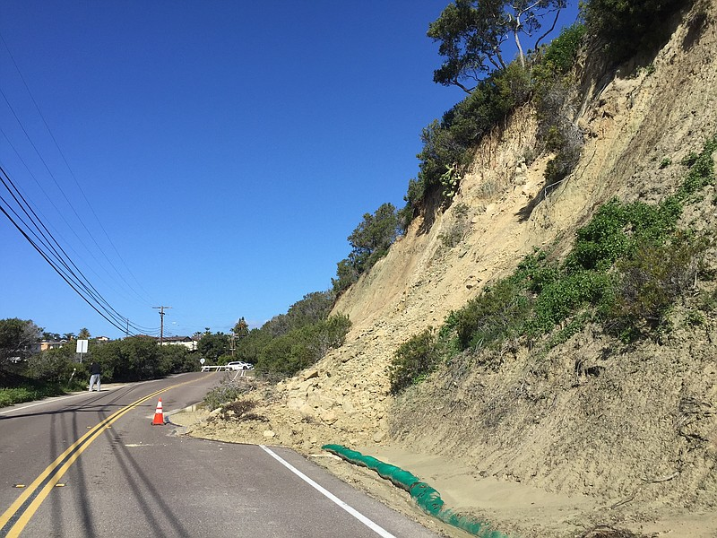 Manchester Ave in Encinitas was closed to traffic after a mudslide, Feb. 28, ...