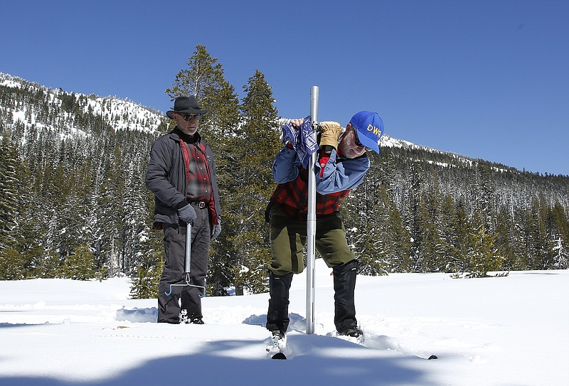 Frank Gehrke, right, chief of the California Cooperative Snow Surveys Program...