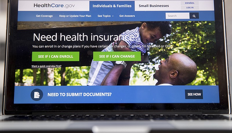 The HealthCare.gov website, where people can buy health insurance, is display...