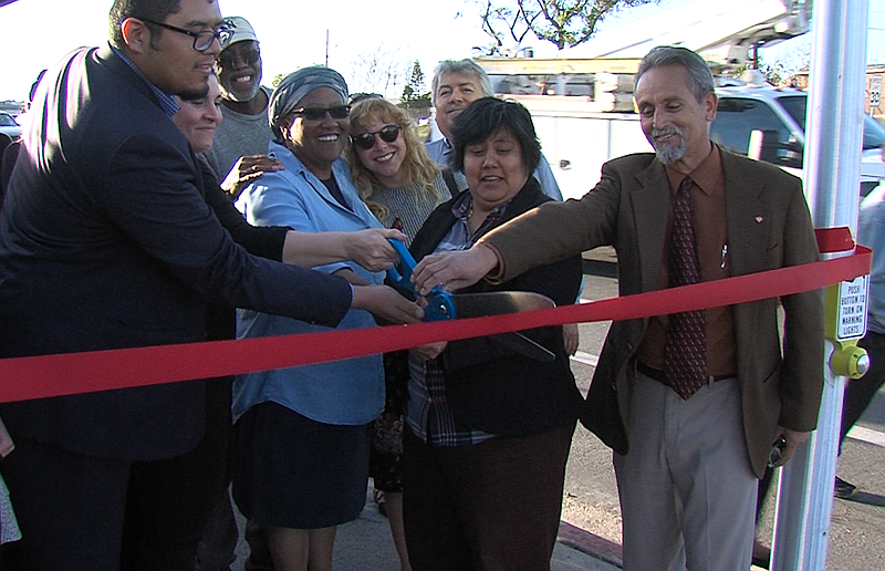 City Councilwoman Georgette Gomez, second from right, cuts a ribbon at the ce...
