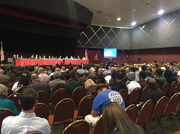 Hundreds gather at Golden Hall to hear about San Diego's homeless crisis, Mon...