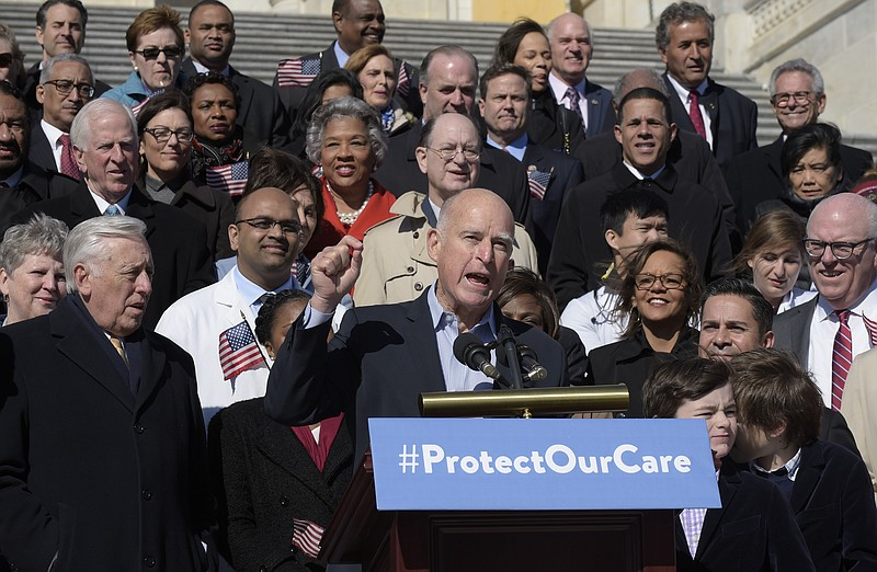 California Gov. Jerry Brown speaks on Capitol Hill in Washington, Wednesday, ...