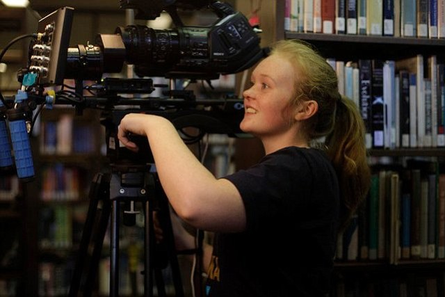 Filmmaker Morgan Dameron on the set of