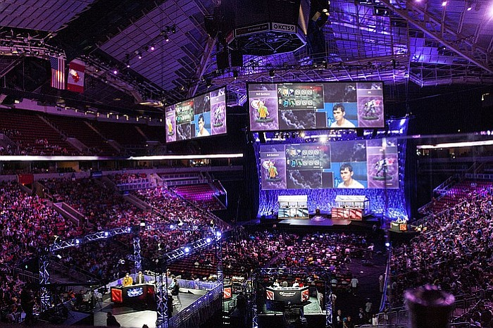 An e-Sports tournament is played  at the KeyArena in Seattle, WA.
