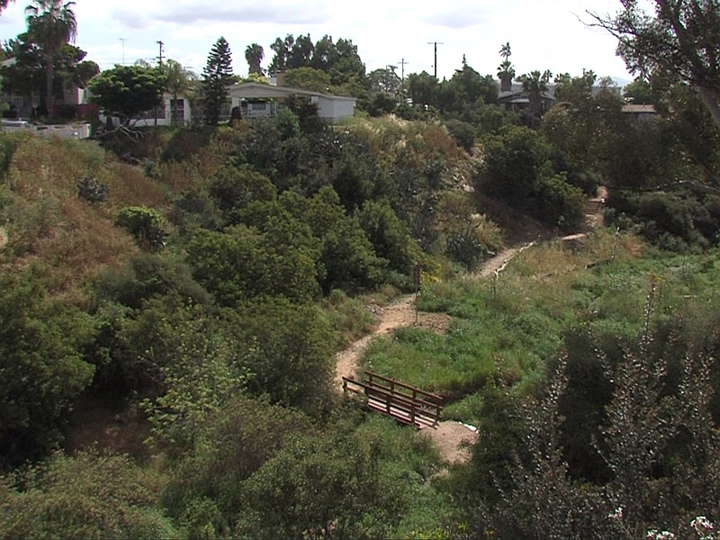 A newly constructed foot bridge can be seen from the top of the 47th Street C...