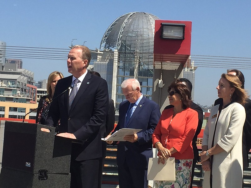 San Diego Mayor Kevin Faulconer speaks at an event on homelessness, April 20,...