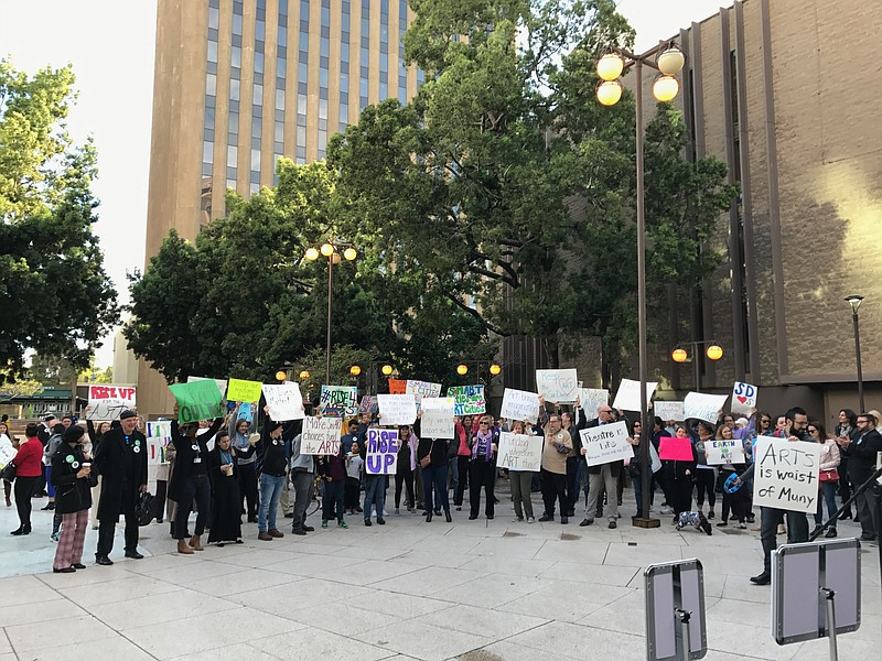 San Diego arts organizations rally at the Civic Center downtown, May 8, 2017.