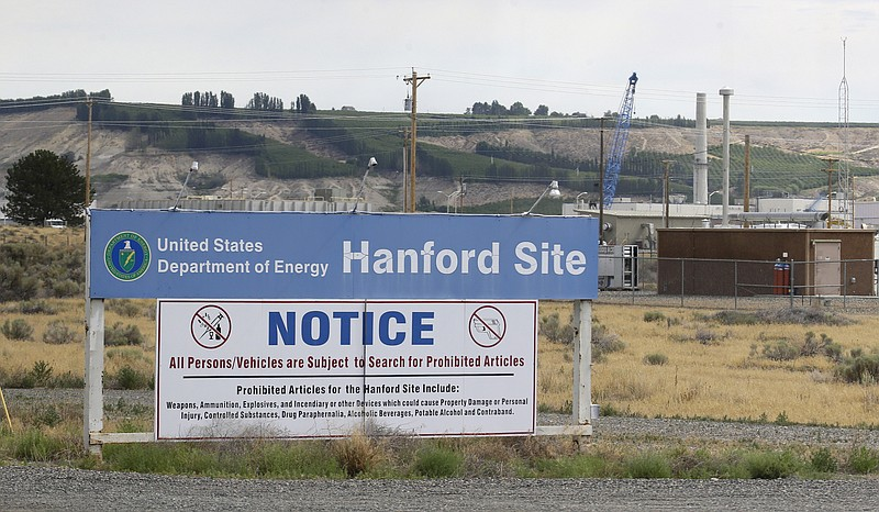 A sign informs visitors of prohibited items on the Hanford Nuclear Reservatio...