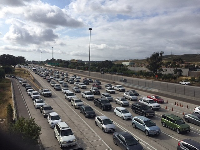Traffic to enter Mexico extends for more than a mile at the San Ysidro Port o...