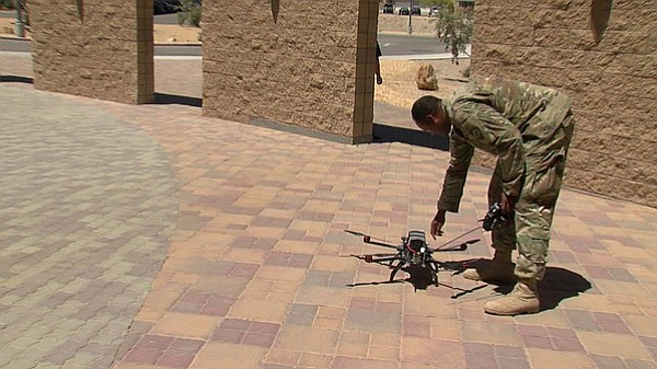 Soldier with Army Cyber Command prepares to launch a drone, May 4, 2017.
