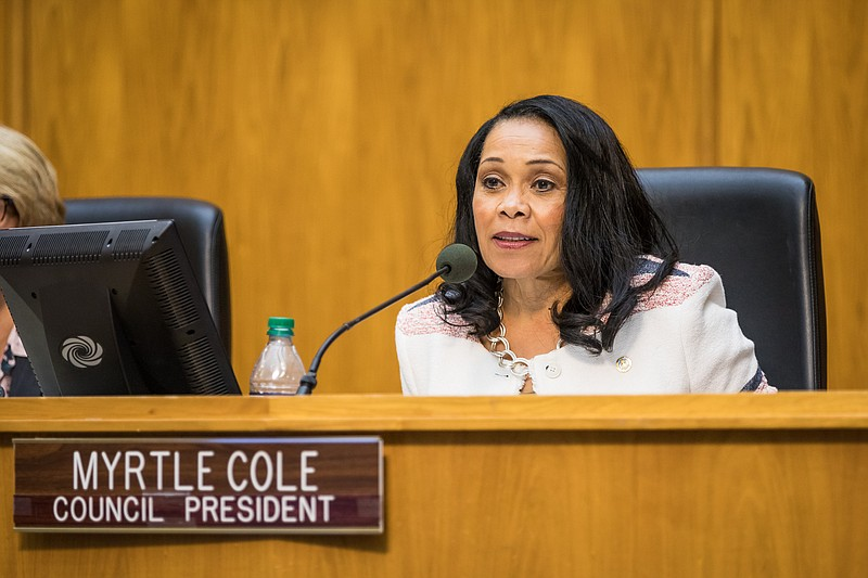 City Councilwoman Myrtle Cole sits at the dais after her election as council ...