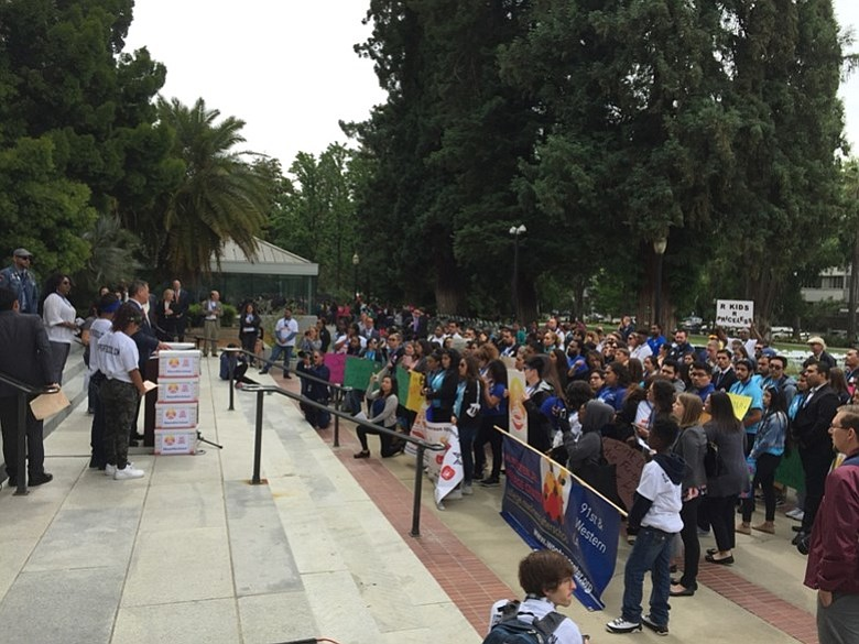 Students and advocates for after-school programs rally at the California stat...
